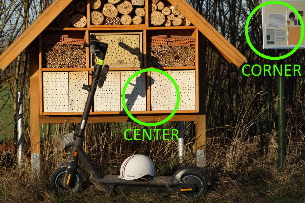 Classic vs. modern super-zoom lens review travelling to a wild bee hotel with a Ninebot MAX G30 e-Scooter