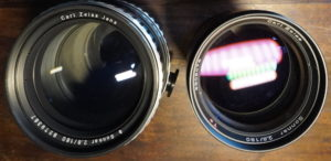 Carls Zeiss Jena lens Made in East Germany and Carl Zeiss T* lens Made in West Germany