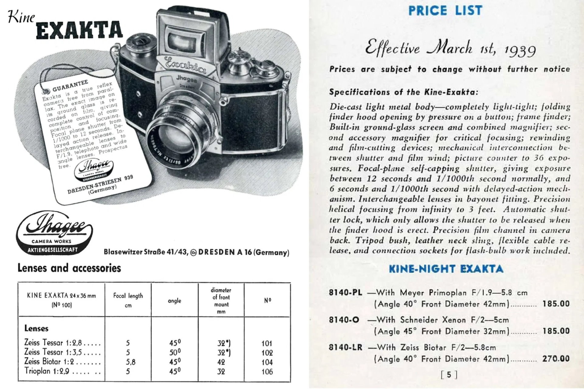 Carl Zeiss Biometar 58mm f/2 lens EXACTA