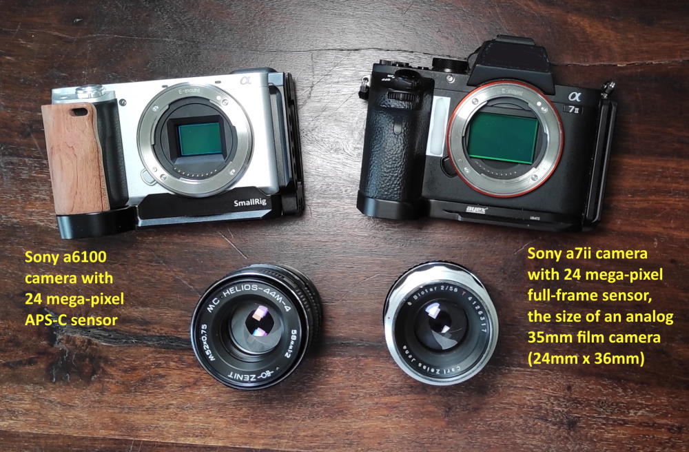 Carl Zeiss Biotar 58mm f2 and Helios 44M-4 classic lenses adapted to Sony a7ii full-frame and Sony a6100 APS-C cameras